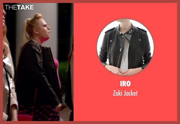 Iro black jacket from Pitch Perfect 2 seen with Rebel Wilson (Fat Amy)
