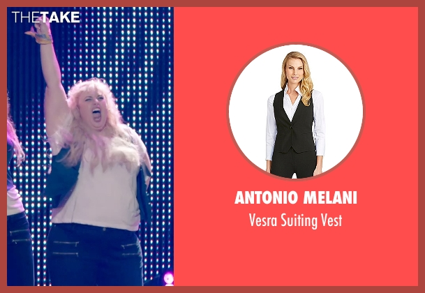 Antonio Melani blue vest from Pitch Perfect 2 seen with Rebel Wilson (Fat Amy)