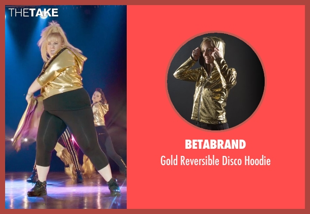 Betabrand gold hoodie from Pitch Perfect 2 seen with Rebel Wilson (Fat Amy)