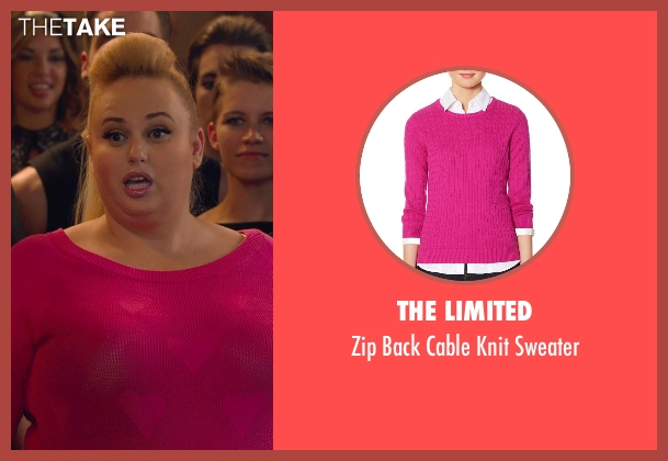 The Limited pink sweater from Pitch Perfect 2 seen with Rebel Wilson (Fat Amy)