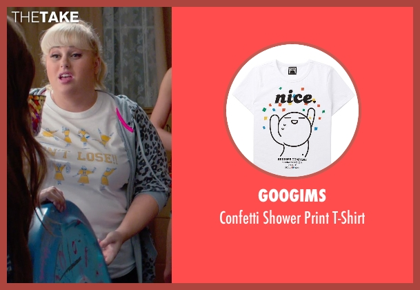 Googims white t-shirt from Pitch Perfect 2 seen with Rebel Wilson (Fat Amy)