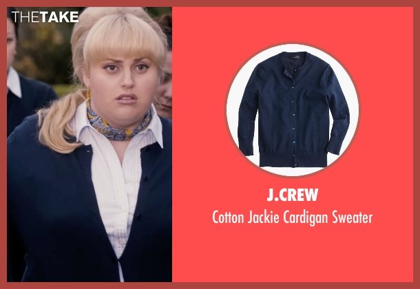 J.Crew blue sweater from Pitch Perfect seen with Rebel Wilson (Fat Amy)