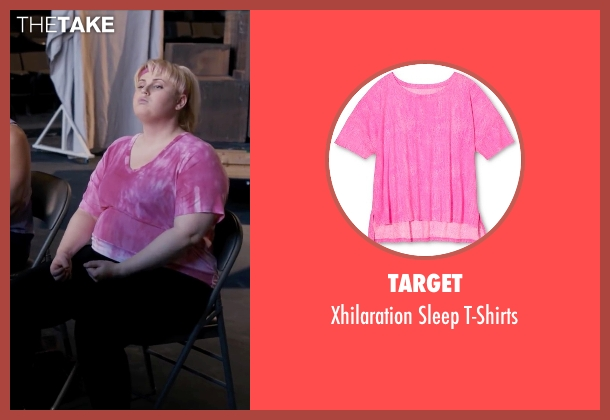 Target pink t-shirts from Pitch Perfect seen with Rebel Wilson (Fat Amy)