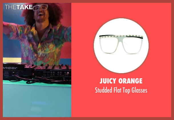 Juicy Orange white glasses from Alvin and the Chipmunks: The Road Chip seen with Redfoo