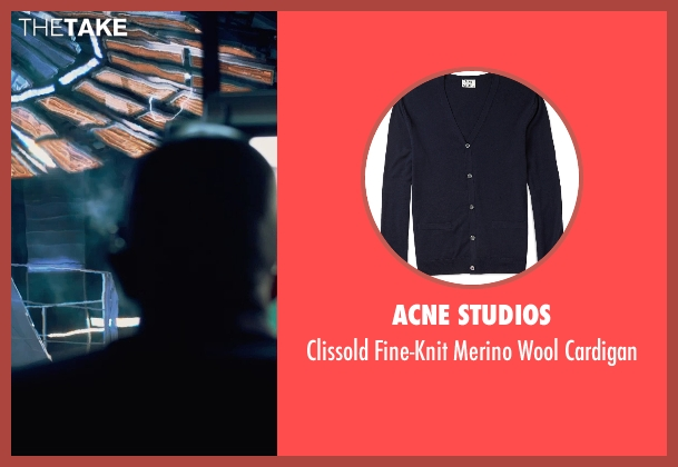 Acne Studios blue cardigan from Fantastic Four seen with Reg E. Cathey (Dr. Franklin Storm)