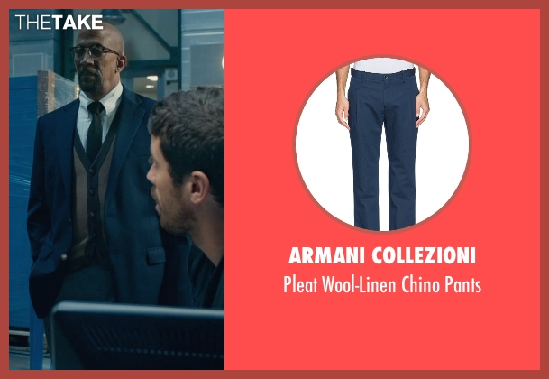 Armani Collezioni blue pants from Fantastic Four seen with Reg E. Cathey (Dr. Franklin Storm)