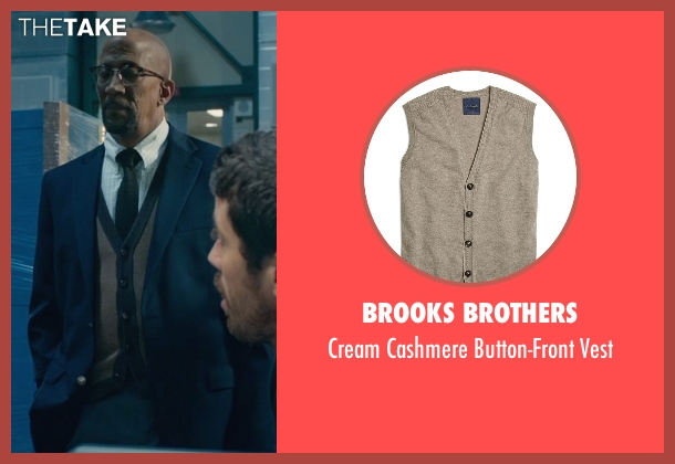 Brooks Brothers brown vest from Fantastic Four seen with Reg E. Cathey (Dr. Franklin Storm)