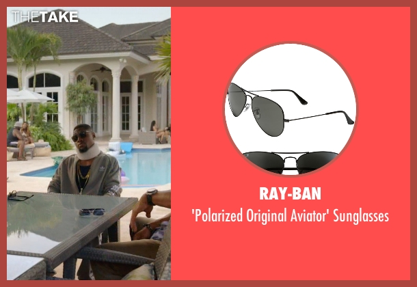 Ray-Ban black sunglasses from Ballers seen with Reggie (London Brown)