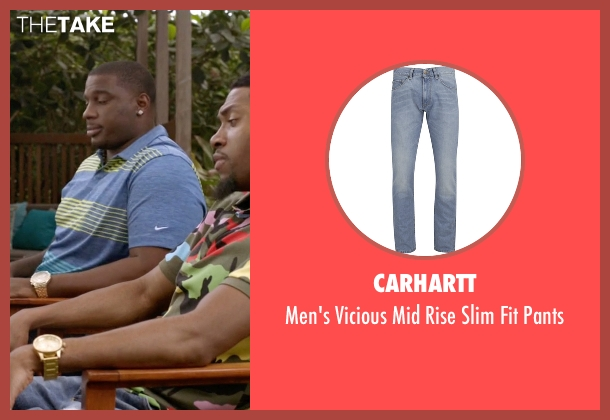 Carhartt blue pants from Ballers seen with Reggie (London Brown)