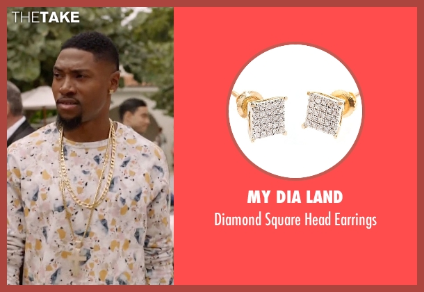 My Dia Land gold earrings from Ballers seen with Reggie (London Brown)