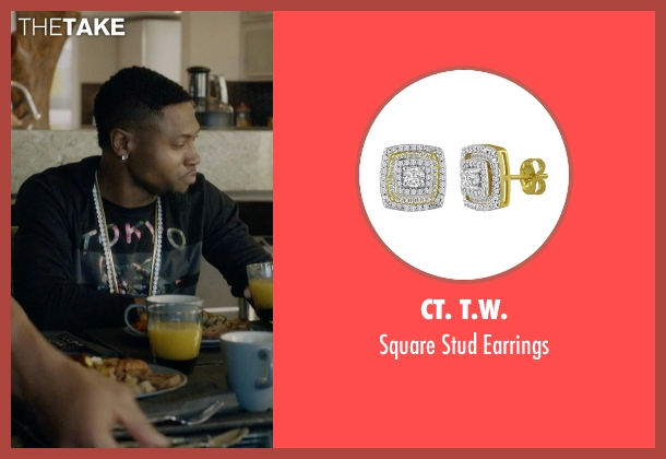CT. T.W. gold earrings from Ballers seen with Reggie (London Brown)