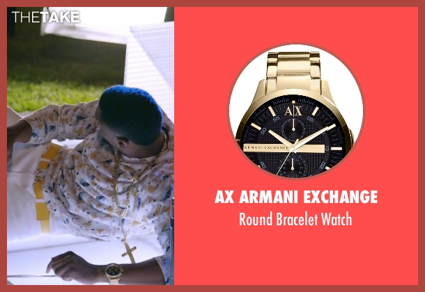 AX Armani Exchange gold watch from Ballers seen with Reggie (London Brown)