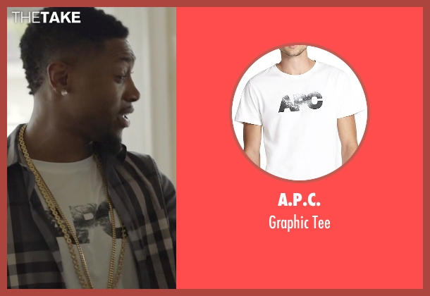 A.P.C. white tee from Ballers seen with Reggie (London Brown)
