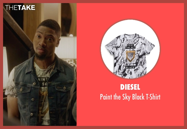 Diesel white t-shirt from Ballers seen with Reggie (London Brown)