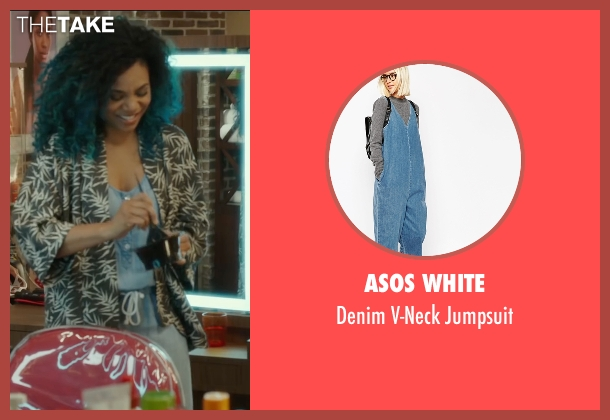 Asos White blue jumpsuit from Barbershop: The Next Cut seen with Regina Hall (Angie)