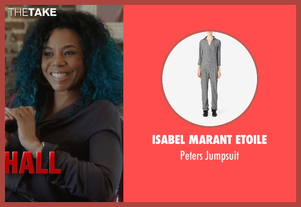 Isabel Marant Etoile gray jumpsuit from Barbershop: The Next Cut seen with Regina Hall (Angie)