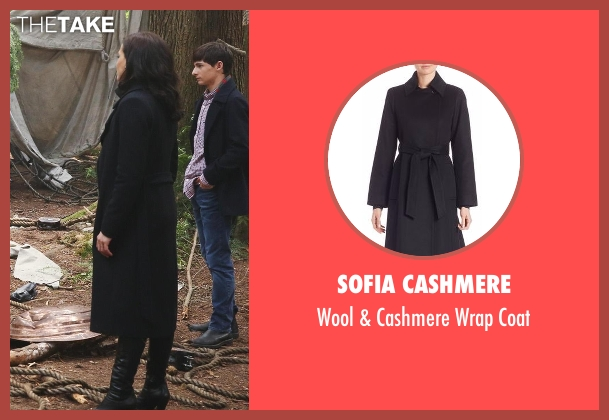 Sofia Cashmere black coat from Once Upon a Time seen with Regina Mills (Lana Parrilla)