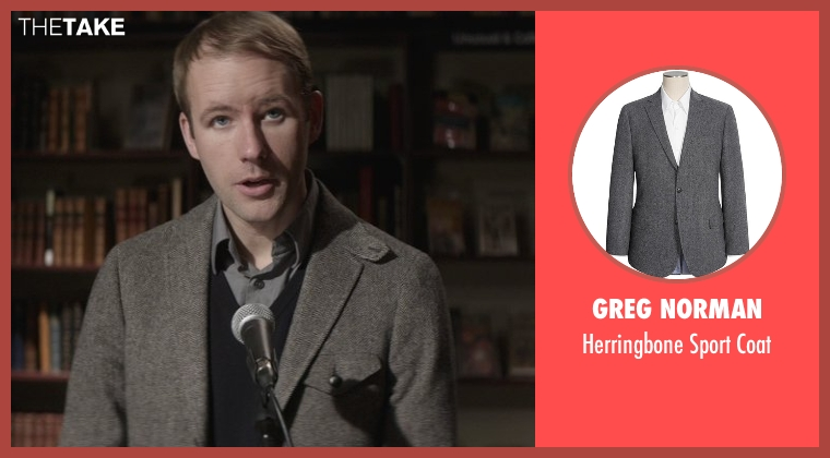 Greg Norman gray coat from That Awkward Moment seen with Reif Larsen (Famous Author)