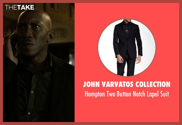 John Varvatos Collection black suit from House of Cards seen with Remy Danton (Mahershala Ali)