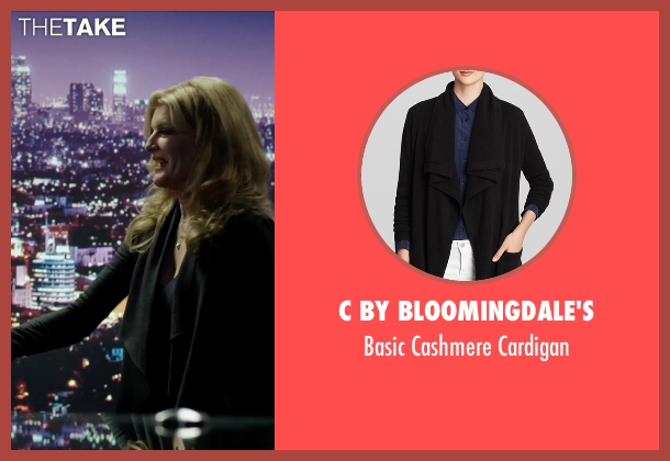 C by Bloomingdale's black cardigan from Nightcrawler seen with Rene Russo (Nina Romina)