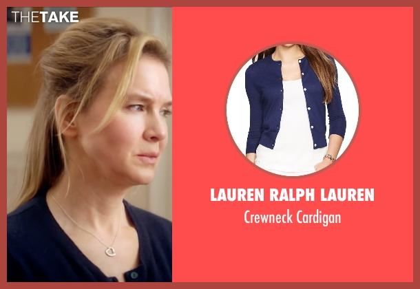 Lauren Ralph Lauren blue cardigan from Bridget Jones's Baby seen with Renée Zellweger (Bridget Jones)