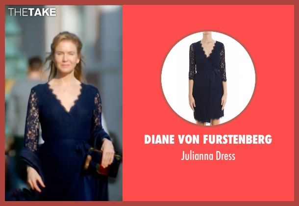 Diane Von Furstenberg blue dress from Bridget Jones's Baby seen with Renée Zellweger (Bridget Jones)
