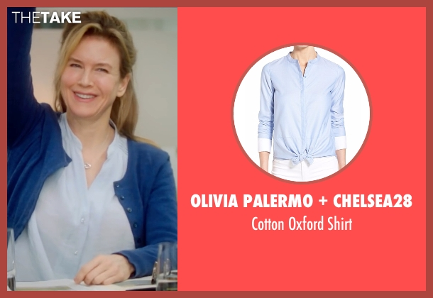 Olivia Palermo + Chelsea28 blue shirt from Bridget Jones's Baby seen with Renée Zellweger (Bridget Jones)