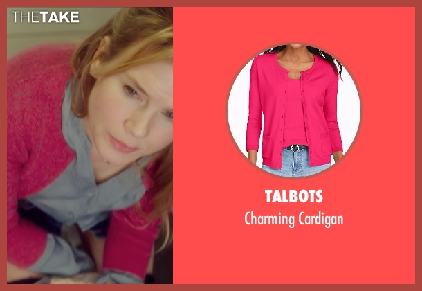 Talbots pink cardigan from Bridget Jones's Baby seen with Renée Zellweger (Bridget Jones)