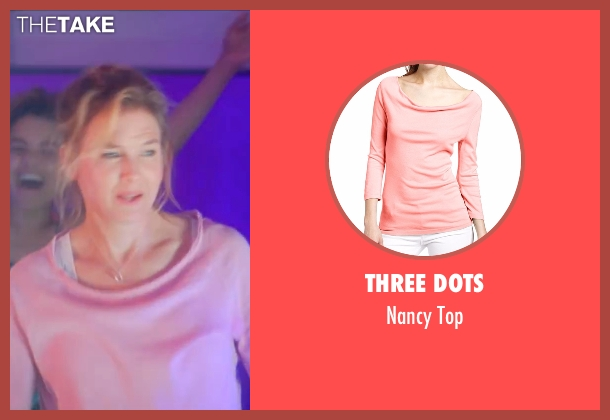 Three Dots pink top from Bridget Jones's Baby seen with Renée Zellweger (Bridget Jones)