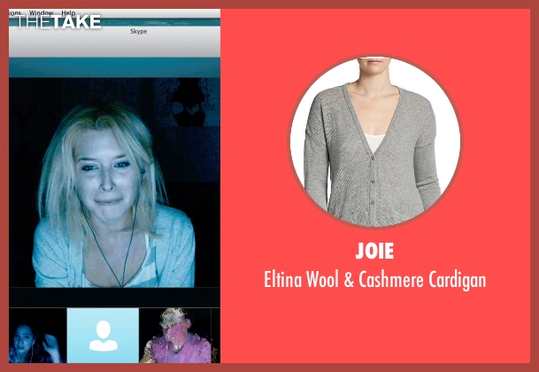 Joie gray cardigan from Unfriended seen with Renee Olstead (Jess)