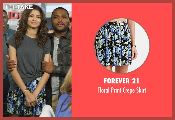 Forever 21 blue skirt from Black-ish seen with Resheida (Zendaya)