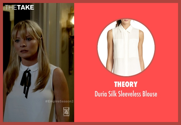 Theory white blouse from Empire seen with Rhonda Lyon (Kaitlin Doubleday)