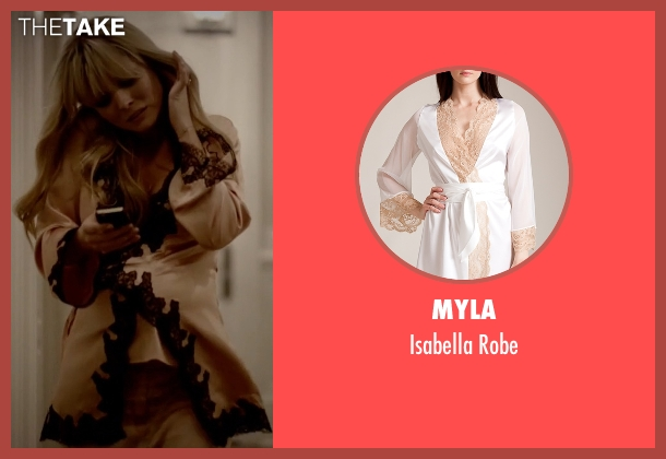 Myla white robe from Empire seen with Rhonda Lyon (Kaitlin Doubleday)