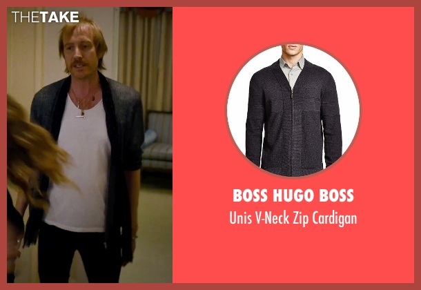 Boss Hugo Boss gray cardigan from She's Funny That Way seen with Rhys Ifans (Seth Gilbert)