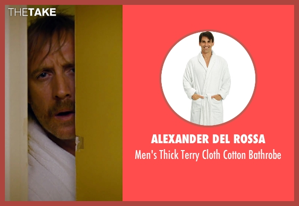 Alexander Del Rossa white bathrobe from She's Funny That Way seen with Rhys Ifans (Seth Gilbert)