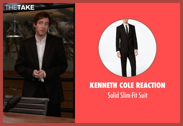 Kenneth Cole Reaction black suit from Silicon Valley seen with Richard Hendricks (Thomas Middleditch)