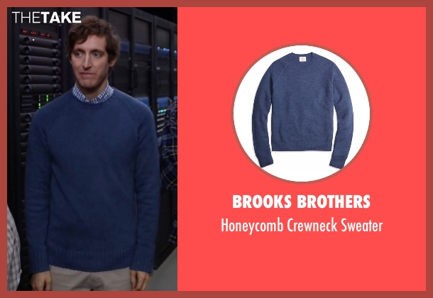 Brooks Brothers blue sweater from Silicon Valley seen with Richard Hendricks (Thomas Middleditch)