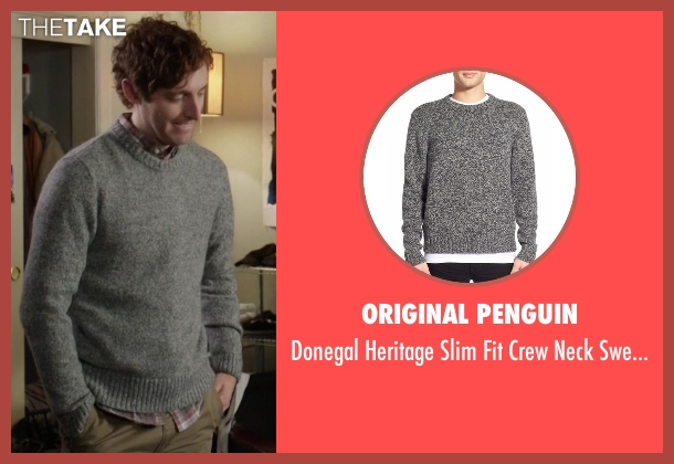 Original Penguin gray sweater from Silicon Valley seen with Richard Hendricks (Thomas Middleditch)