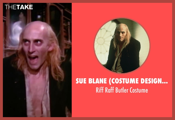 Sue Blane (Costume Designer) black costume from The Rocky Horror Picture Show seen with Richard O'Brien (Riff Raff)