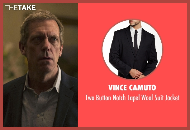 Vince Camuto black jacket from The Night Manager seen with Richard Onslow Roper (Hugh Laurie)