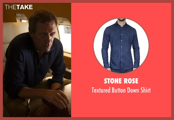 Stone Rose blue shirt from The Night Manager seen with Richard Onslow Roper (Hugh Laurie)