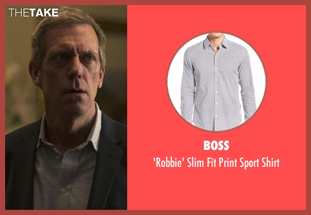 Boss gray shirt from The Night Manager seen with Richard Onslow Roper (Hugh Laurie)