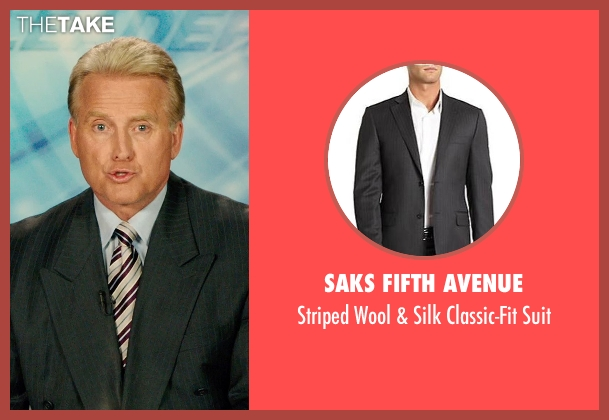 Saks Fifth Avenue gray suit from The Purge: Anarchy seen with Rick Chambers (TV Newscaster #1)