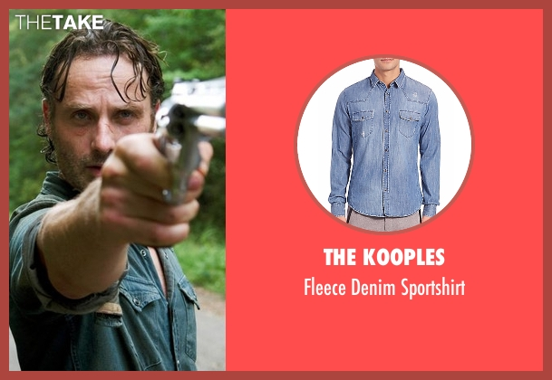 The Kooples blue sportshirt from The Walking Dead seen with Rick Grimes (Andrew Lincoln)