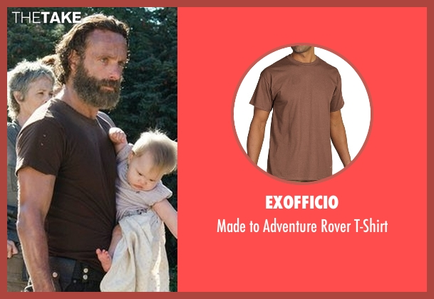ExOfficio brown t-shirt from The Walking Dead seen with Rick Grimes (Andrew Lincoln)
