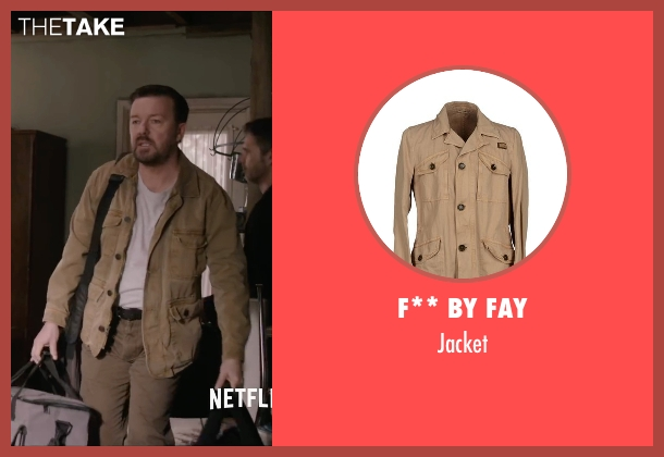 F** By Fay beige jacket from Special Correspondents seen with Ricky Gervais (Ian Finch)