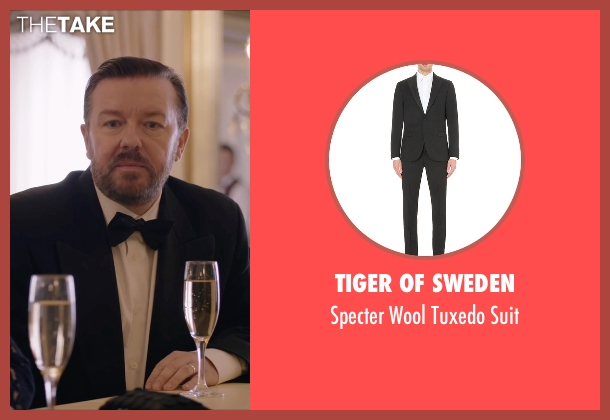 Tiger Of Sweden black suit from Special Correspondents seen with Ricky Gervais (Ian Finch)
