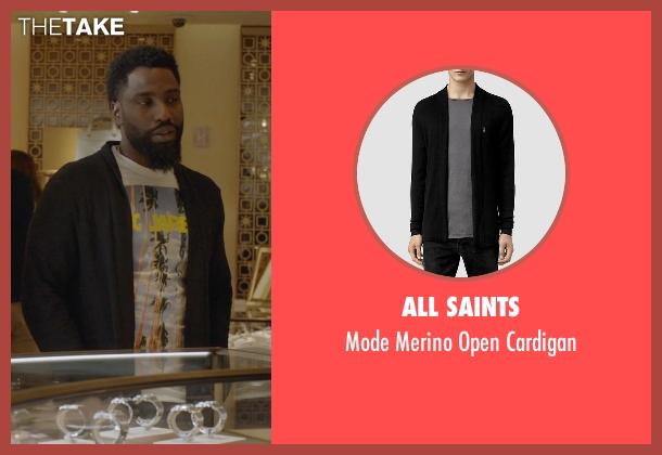 All Saints black cardigan from Ballers seen with Ricky Jerret (John David Washington)
