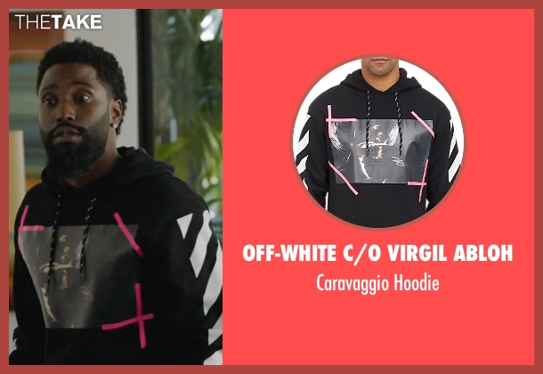 Off-White C/o Virgil Abloh black hoodie from Ballers seen with Ricky Jerret (John David Washington)