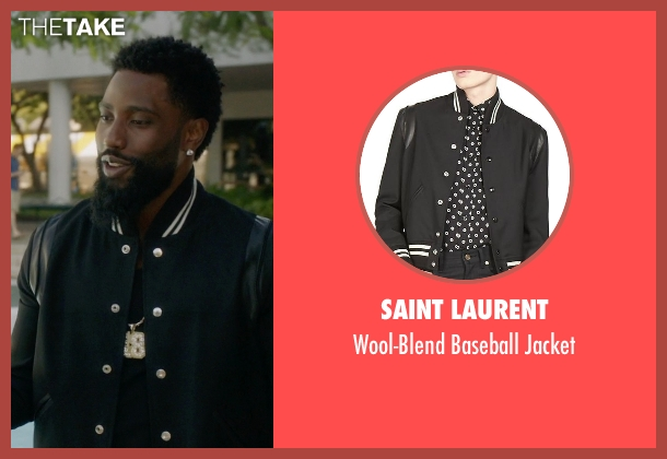 Saint Laurent black jacket from Ballers seen with Ricky Jerret (John David Washington)